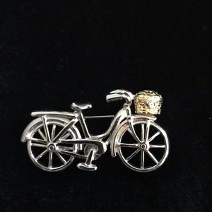 Silver & gold tone bicycle with gold basket pin